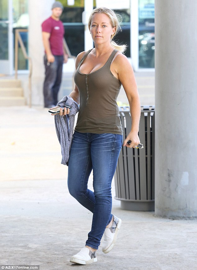 Eye popping: Kendra Wilkinson stepped out on Tuesday in a body-con vest as she ran errands in Calabasas, California