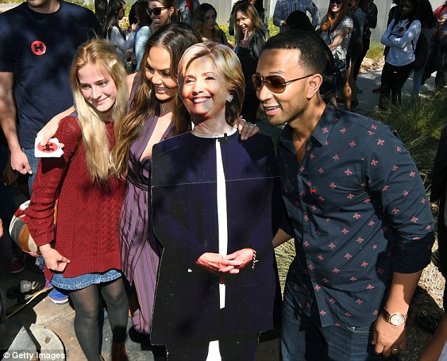 I'm with her! Chrissy Teigen and John Legend campaigned for Hillary Clinton in Nevada on Tuesday