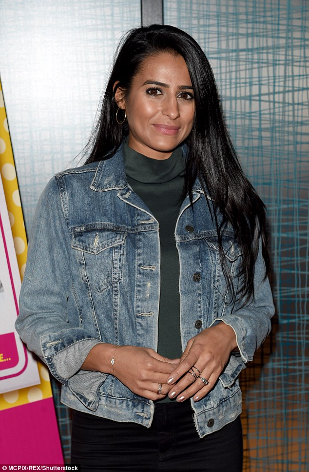 Keeping it casual: Corrie's Sair Khan (who playsAlya Nazir) looked cool in a denim jacket