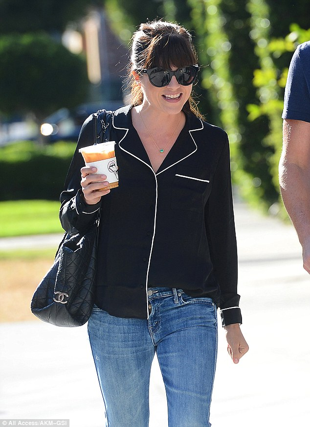 Laid back vibes: The 44-year-old actress wore jeans with what appeared to be a black pajama top