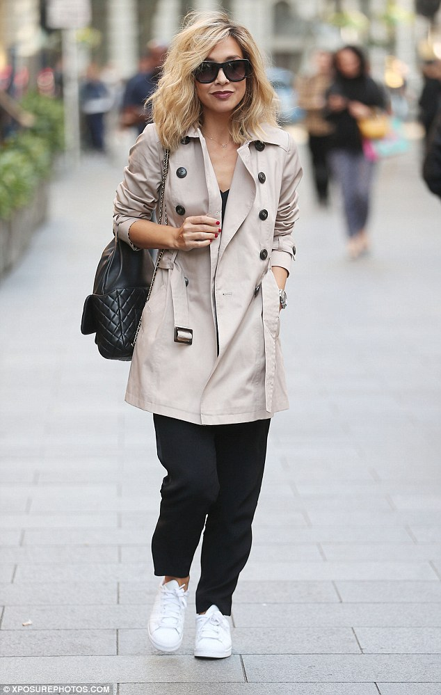 Stylish as ever: Myleene Klass was impeccably dressed when she left the Global Radio Studios in London on Tuesday following her morning presenting duties