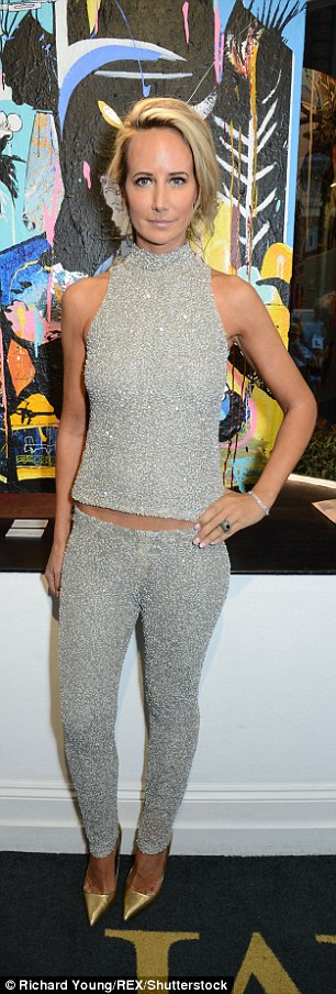 Shine on:Lady Victoria Hervey flaunted her svelte physique in a bedazzled top and trousers