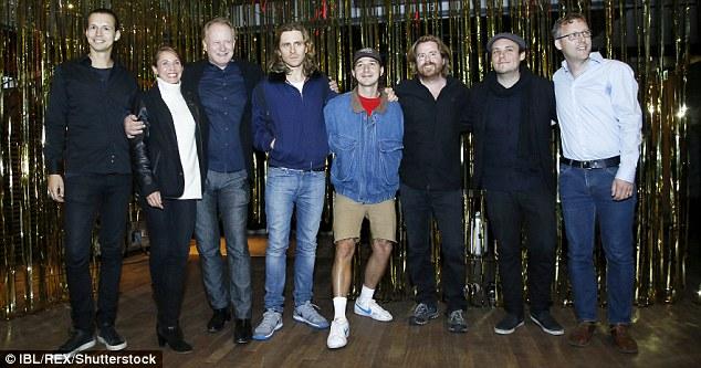 High spirits: The cast were all smiles (Pictured L-R) Fredrik Wikstrom, Tuva Novotny, Stellan, Sverrir Gudnason, Shia, Janus Metz Pedersen, Ronnie Sandahl and Jon Nohrstedt