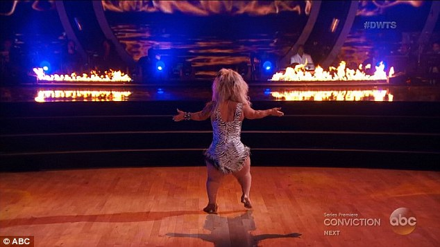 On fire: But it did not show in her Samba inspired by the show O - with them getting what at that point was the first 9 of the season