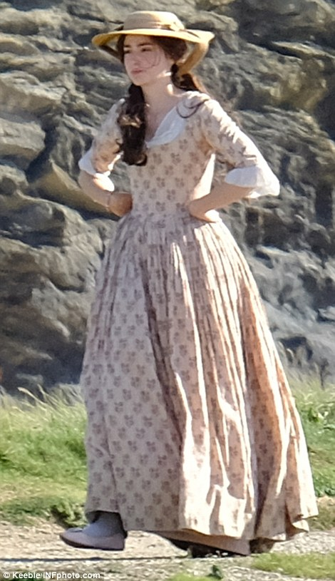 Elizabeth's arrived: Eleanor and Aidan's co-star Heida Reed was also spotted filming scenes on the craggy Cornish shoreline