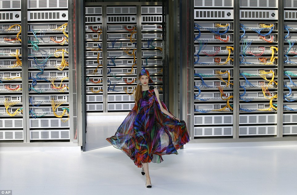 Karl today transformed the Grand Palais into a data centre complete with server racks and his iconic Chanel symbol being re-invented using brightly coloured wires