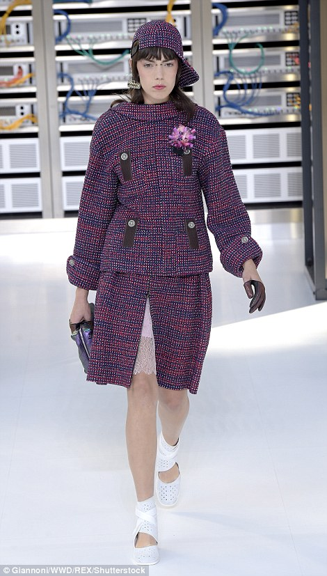 Karl proved red, purple and pink can work together in the form of his tweed jumpers and jackets