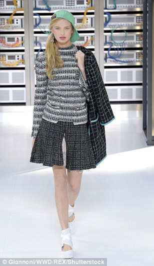 Karl's girls also donned pleated tweed skirts with centre splits