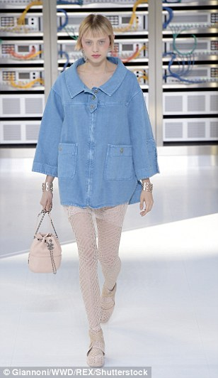 Elsewhere, models wore oversized denim jackets and peachy tights