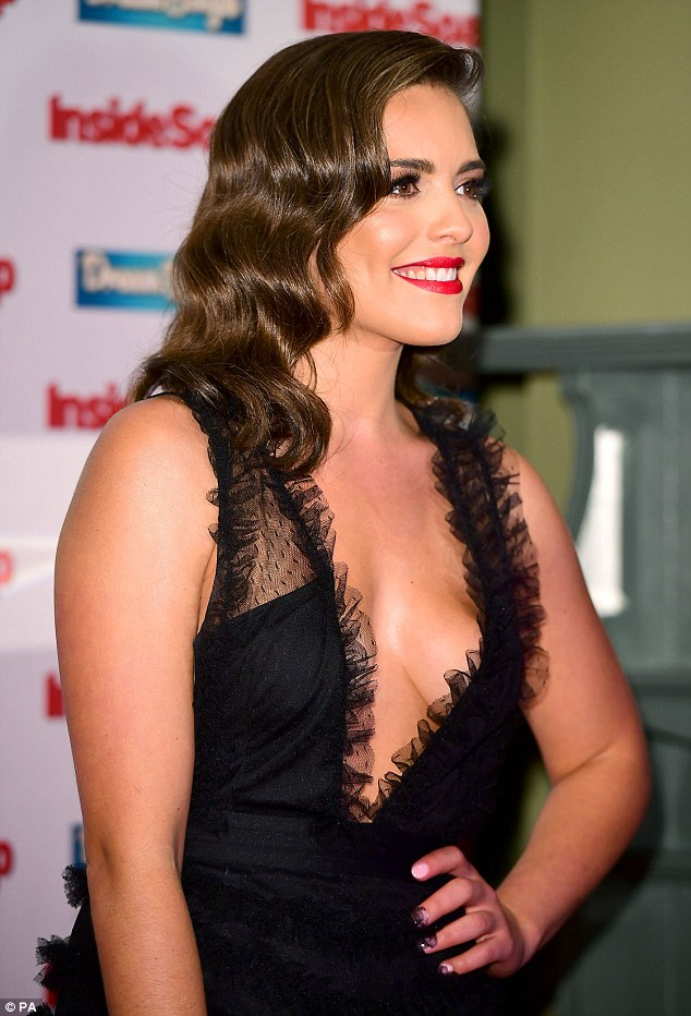 Side-boob: The actress ensured her cleavage was on display for the occasion