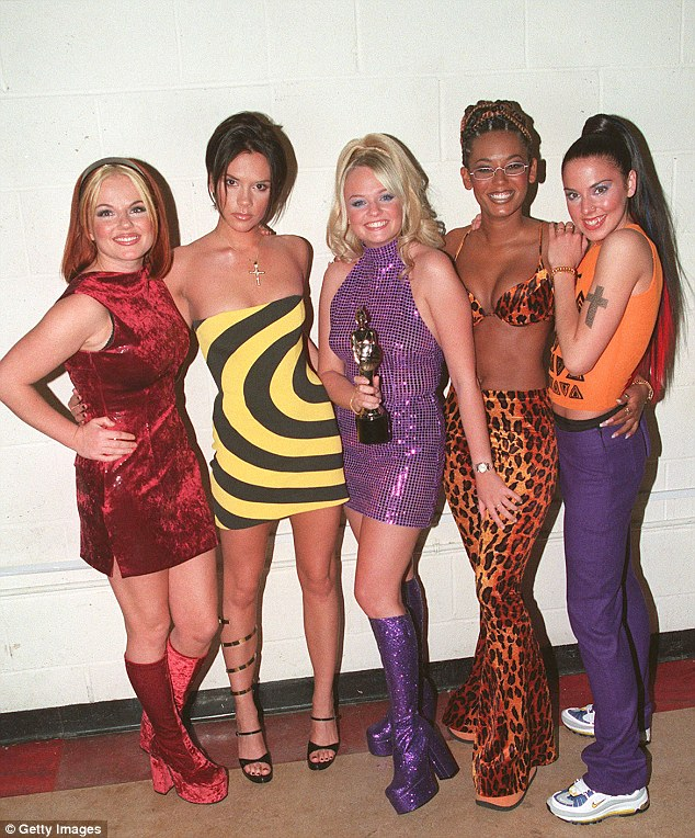 'It was a joke': Robbie also denied this week sleeping with four out of the five Spice Girls, with the women being seen here in 1995