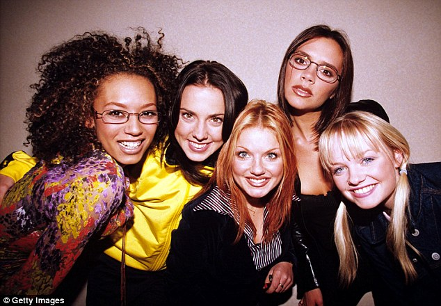 Hitting back: Meanwhile, Mel C (second left) has denied Robbie's claims he bedded 'four out of five' Spice Girls in an interview with Closer magazine