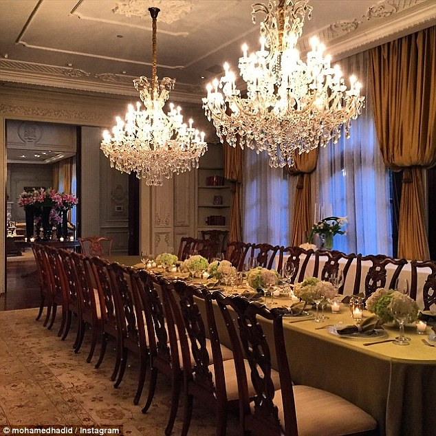 Home for the holidays: Their formal dining room, where they host dinner parties, seats 20