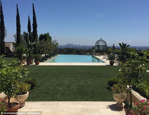 Place to chill: The pool is surrounded by grass and had a terrific view of LA