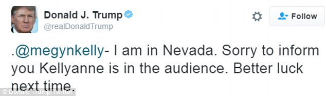 Donald Trump kicked off his live-tweeting of the event with a swipe at Fox News host Megyn Kelly
