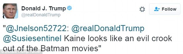 JOKER: Republican Donald Trump kept busy during the vice presidential debates, retweeting a user who said Tim Kaine looked like an 'evil crook'