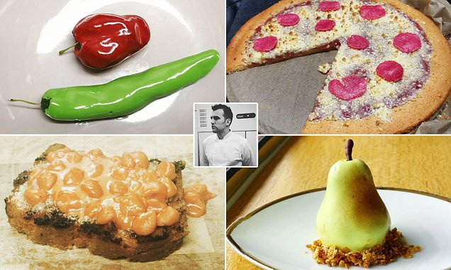 Chef creates optical illusion desserts including marzipan beans on toast and pizza made of