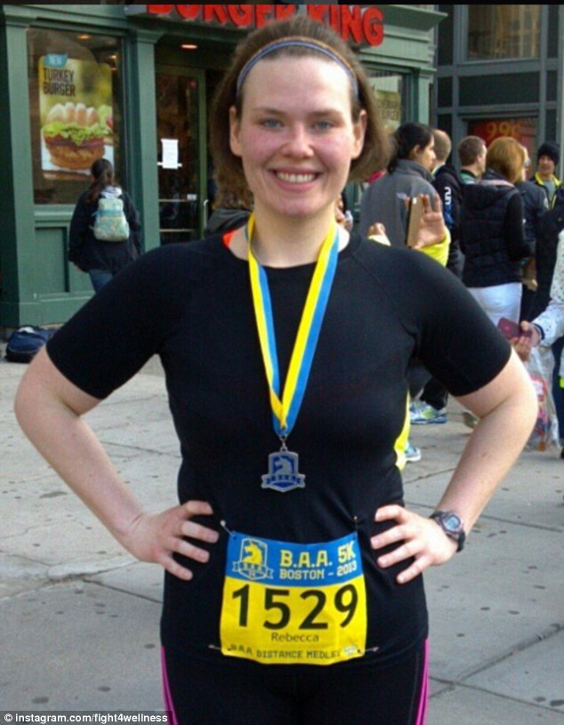 Becki Ledford in April 2013 was lean and trim before she began pounding the pavements