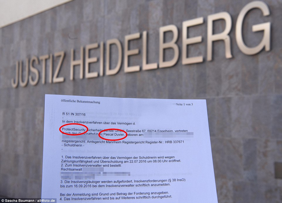 Bankruptcy: Official documents obtained by MailOnline, above, reveal that Mr Duvier filed for insolvency for his ProtectSecurity firm on July 22 in his German hometown of Heidelberg
