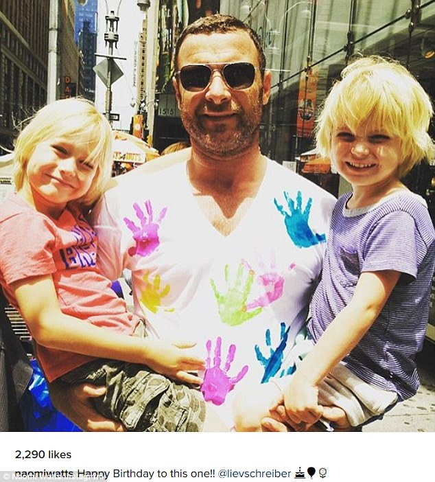 Amicable exes: On Tuesday, Naomi Watts celebrated Liev Schreiber's birthday by posting an Instagram photo of him with their sons, seven-year-old Samuel and nine-year-old Alexander