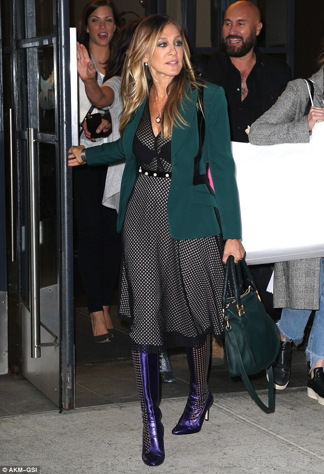 Make way!The actress ditched the edgy look that same day for a jade green blazer, black and white dress, and eye-catching violet boots as she left her hotel