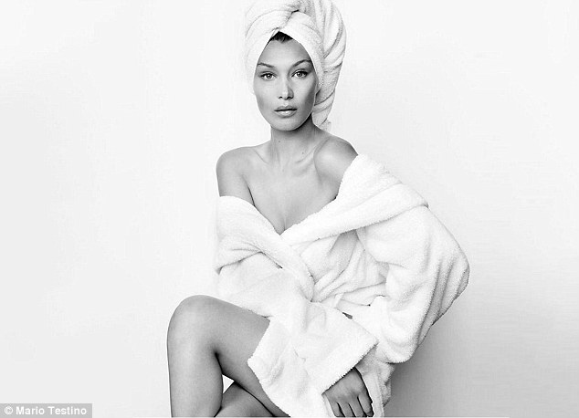 Effortless: She's also the 119th person to pose in fashion photographer Mario Testino's iconic Towel Series