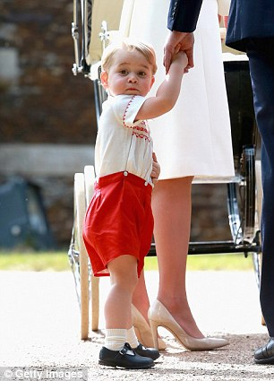 George donned red versions at the Church of St Mary Magdalene on the Sandringham Estate for the Christening of Princess Charlotte in 2015