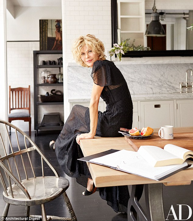 Gorgeous home: Meg Ryan opened up her renovated SoHo loft for the November cover of Architectural Digest