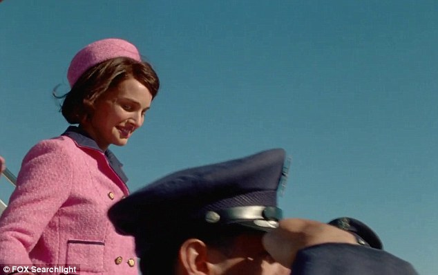 The trailer shows Portman as Jackie walking down the steps of Air Force One after arriving at Dallas Love Field