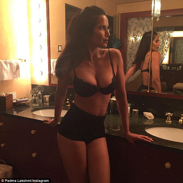 Slim and sultry: Padma displayed her fabulous physique in a racy selfie last week proving her philosophy that knowing how to use spices helps her to 'stay skinny'