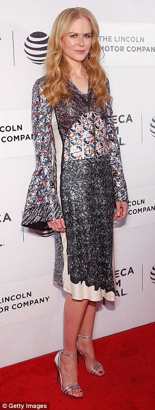 Hot mommas: Nicole Kidman, 49, opted for a sequined Louis Vuitton frock in the same silhouette