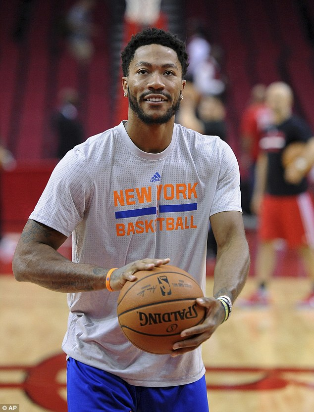 Rose (above, on Tuesday) did address the $21 million lawsuit before making his debut with the New York Knicks in Houston, saying he welcomed the chance to clear his name