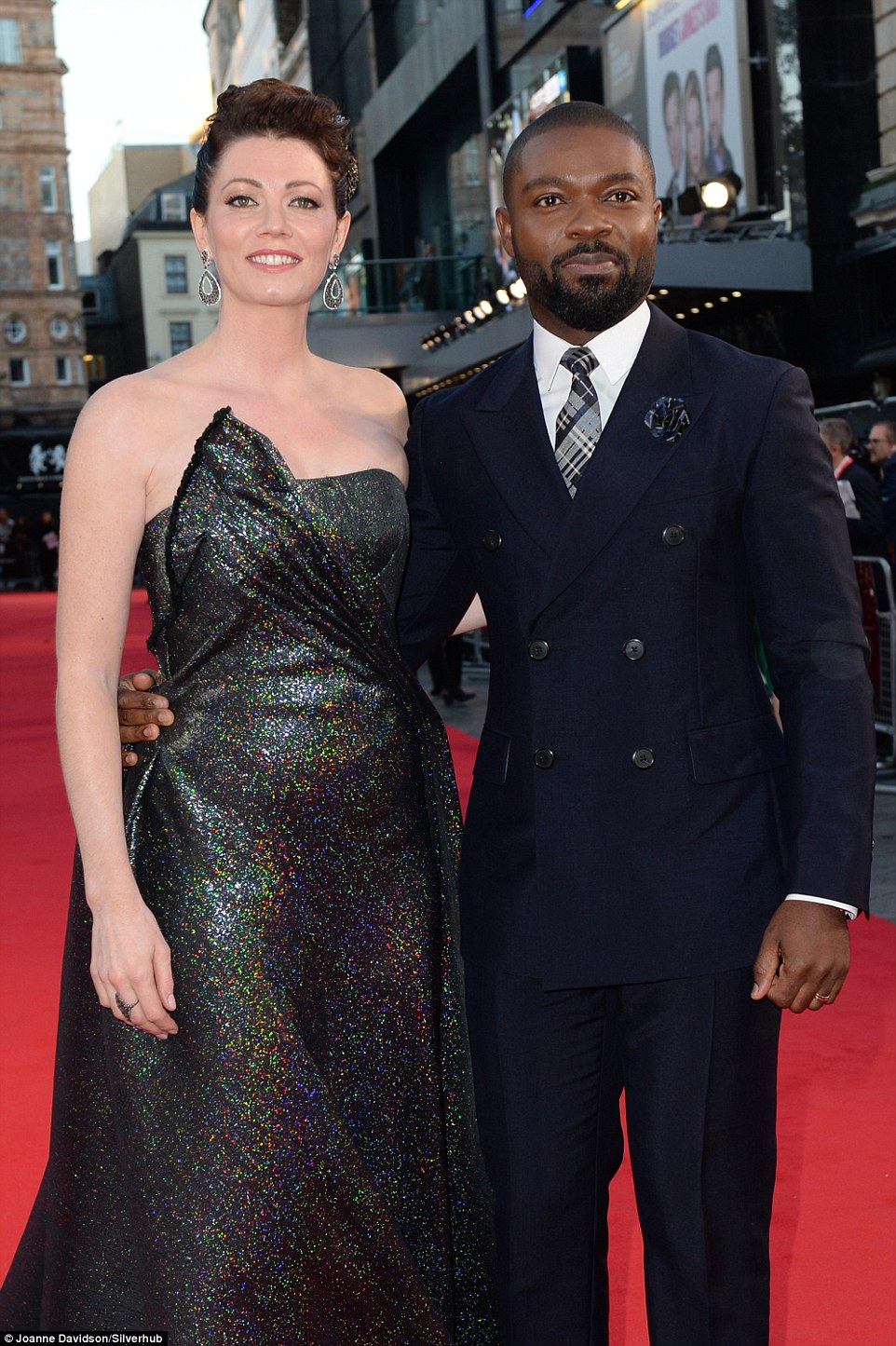 Date night: Leading man David Oyelowo was suited and booted for the premiere, with wife Jessica on his arm