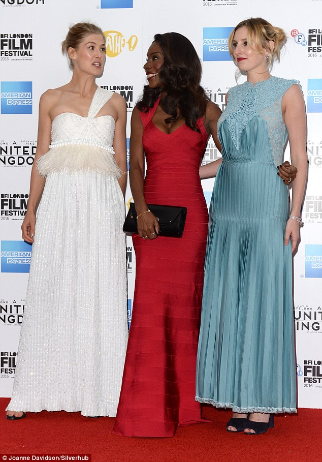 Starry-eyed: At the premiere, actress Rosamund Pilke (left) and Laura (right) were joined by director Amma Asante (centre)