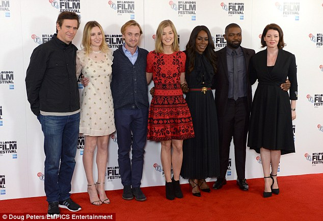 The film family: The two actresses were joined on the red carpet by the film's leading men, David Oyelowo and Tom Felton as well as their other co-stars