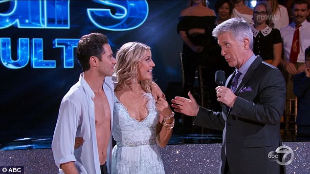 In on it: Tom Bergeron complimented the couple on her chemistry and then let Sasha take over hosting