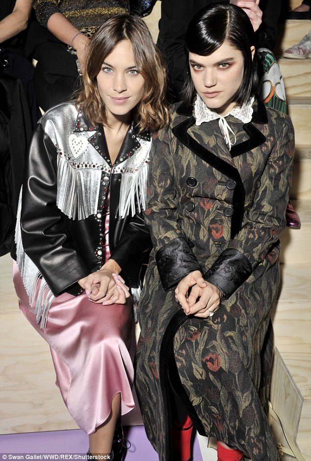 Cool cats: Alexa joined French singer Soko, who enjoyed a romance with Kristen Stewart earlier on this year,  on the FROW