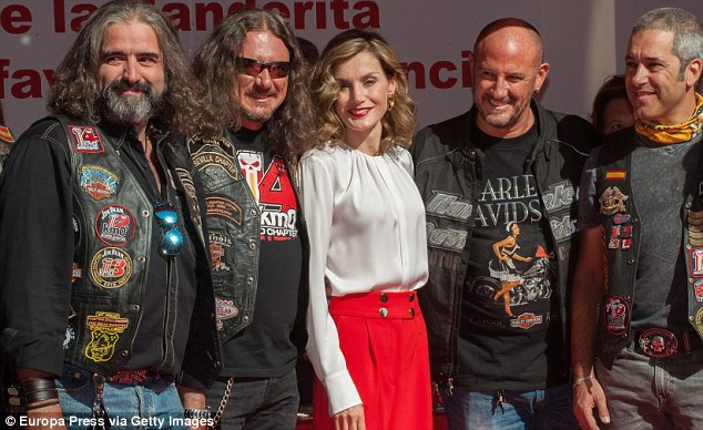 Queen Letizia made some unlikely friends in the form of leather clad bikers at the Red CrossDia de la Banderita event in Madrid today