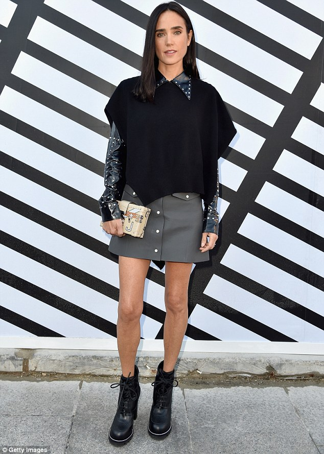 Punk spirit: As she arrived at Louis Vuitton's Paris Fashion Week SS17 show Jennifer Connelly looked every bit the on-trend fashionista