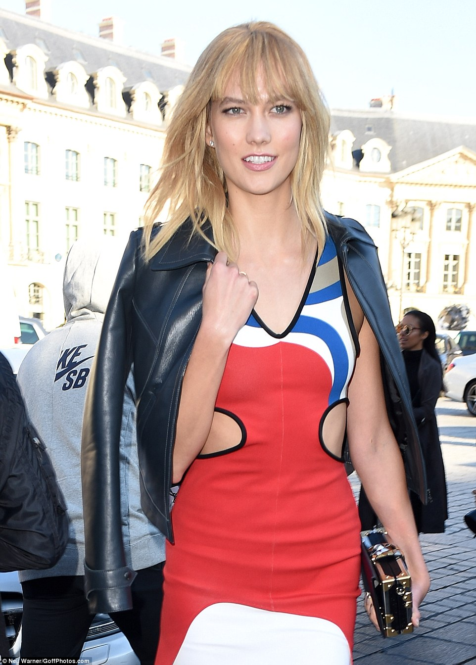 She's not shy: Karlie showed off some skin in her rock star inspired dress which had cut-outs at the sides