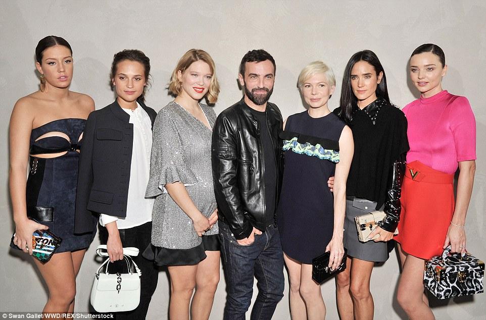 All stars: (L-R) Adele Exarchopoulos, Alicia Vikander, Lea Seydoux, Nicolas Ghesquiere, Michelle Williams, Jennifer Connolly and Miranda Kerr backstage at the show