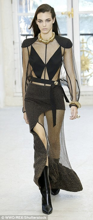 Beautiful: Sheer fabrics and gold played a major part on the day