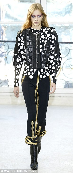 Stunning: Polka dots and military detailing were also a major theme