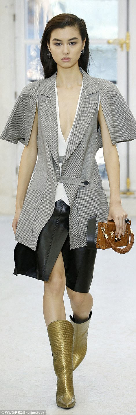 Working the trend: They were mixed in with leather pieces and plunging necklines