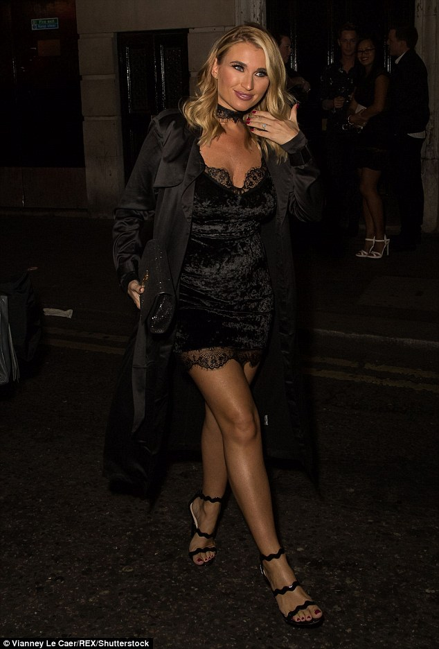 Stunner: Billie's dress skimmed off high on the thighs to reveal her long legs