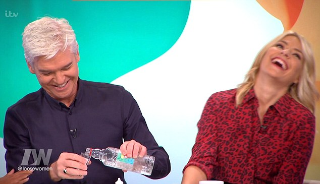 Down in one! Phillip Schofield and Holly Willoughby were in high spirits when they downed shots as guests on Loose Women on Wednesday