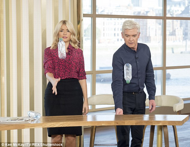 On This Morning, the pair attempted the water bottle challenge where they threw them in the air hoping they would land standing up