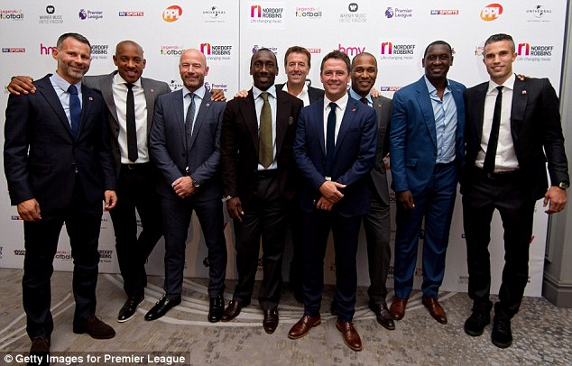 What a line up: Ryan Giggs, Dion Dublin, Alan Shearer, Jimmy Floyd Hasselbaink, Matt Le Tissier, Michael Owen, Les Ferdinand, Emile Heskey and Robin van Persie were out in force