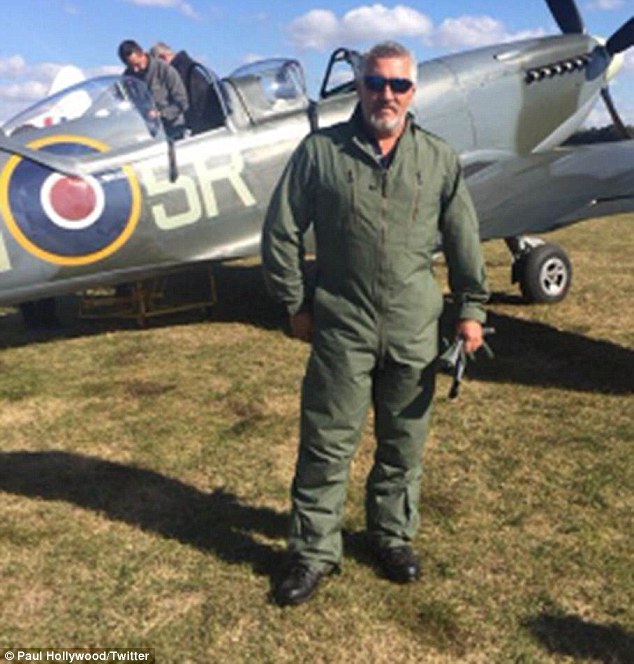 Ready to go: Paul Hollywood was given the rare opportunity to fly a vintage aircraft after paying a visit to Aero Legends at Headcorn Airfield in Kent on Wednesday afternoon