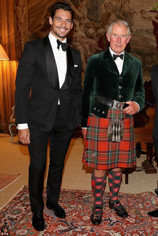 How do you do? Prince Charles rubbed shoulders with  Essex-born supermodel Davd Gandy and other fashion industry insiders at a dinner he was hosting at Dumfries House last night